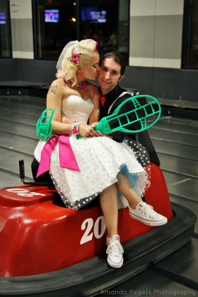 Bride and groom at WhirlyBall