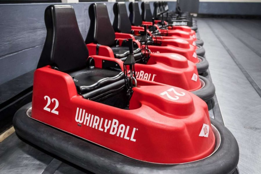 Whirlyball cars lined up