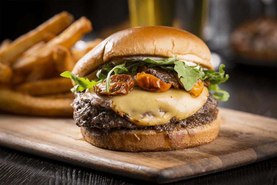 Bacon cheeseburger at WhirlyBall