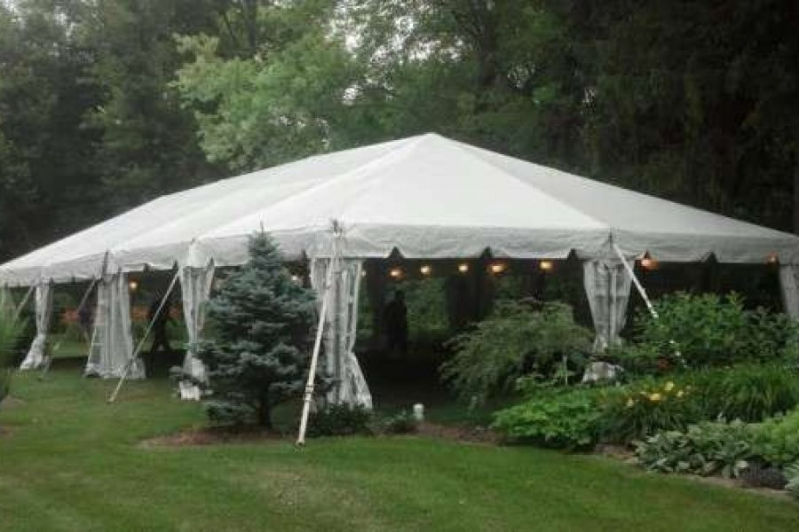 white tent with open side from Area rentals