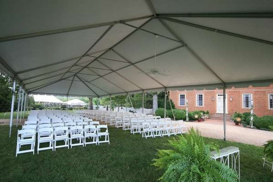 tented wedding ceremony set up by Area Rental in New Berlin