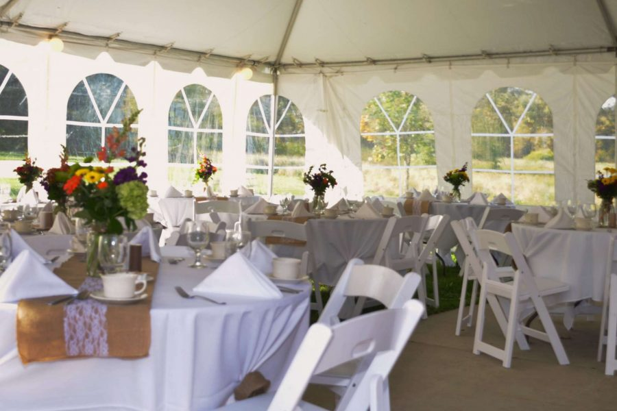 White chairs by Area Rental & Sales, New Berlin, WI