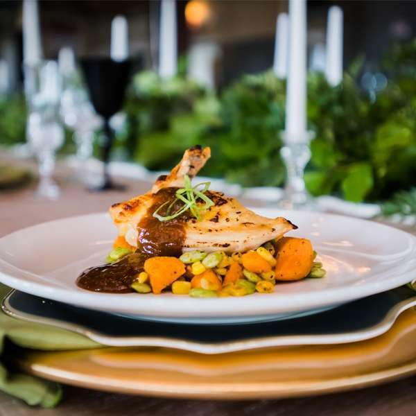 Plated entree by F Street Catering & Events