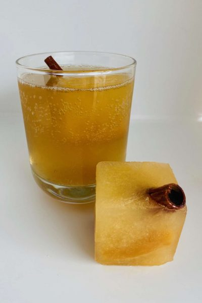 Caramel Apple Cider with Cinnamon Stick Garnish