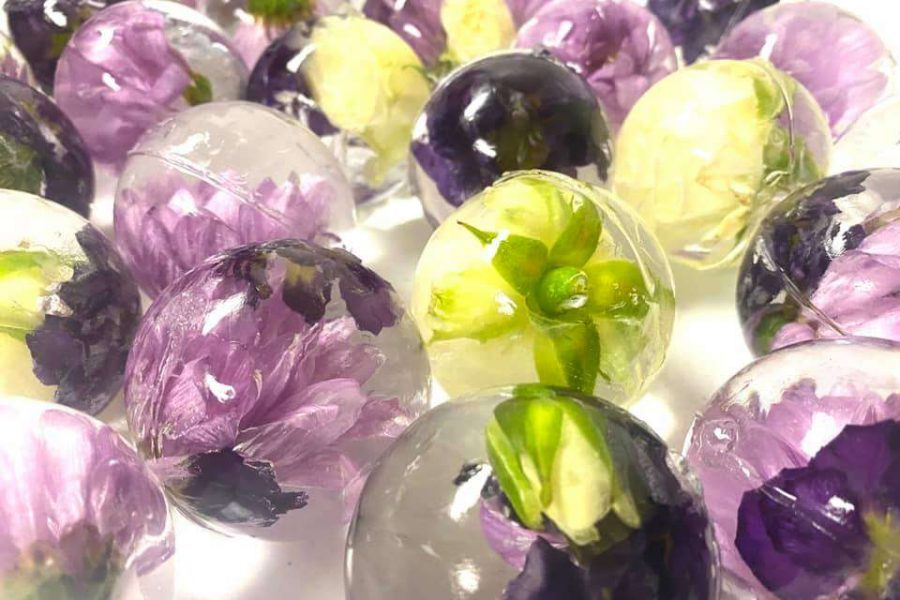 Purple and white floral ice spheres