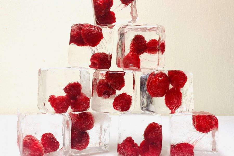 Raspberry filled clear ice cubes