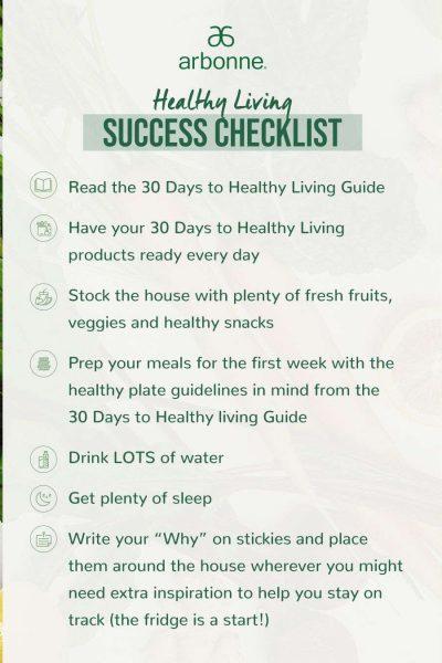Arbonne- Healthy Living Success Checklist