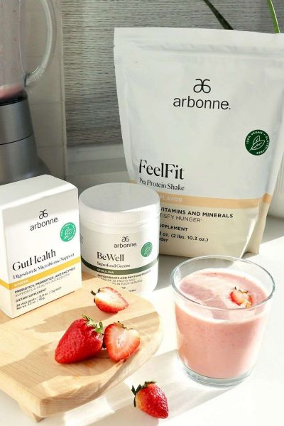 Strawberry shake with Arbonne Pea Protein product