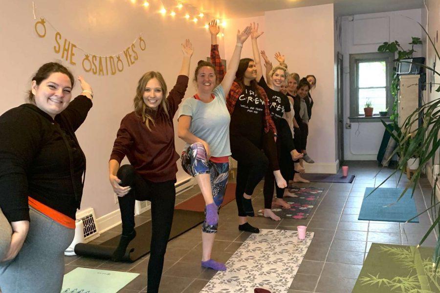 Engagement party Yoga class at Washington Heights Yoga