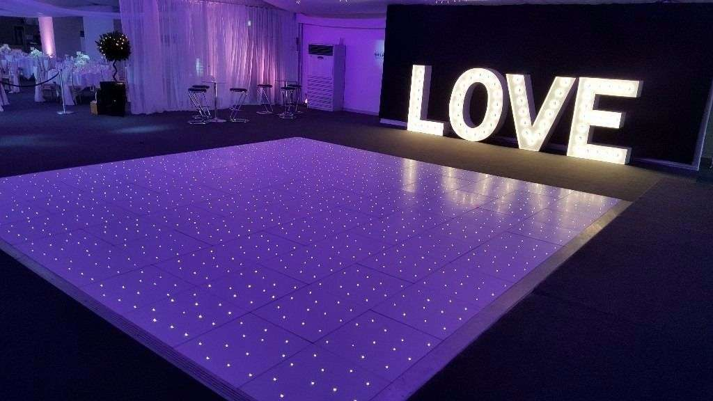 LOVE sign at wedding reception