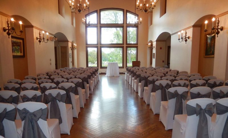Wedding ceremony set up at the Polish Center of Wisconsin in Franklin