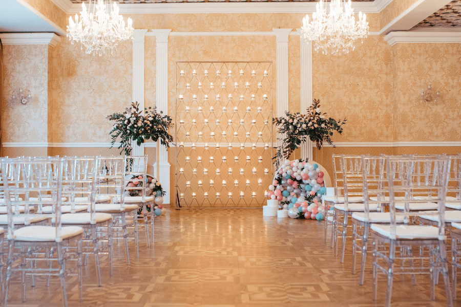 Romantic candle wall backdrop for wedding ceremony