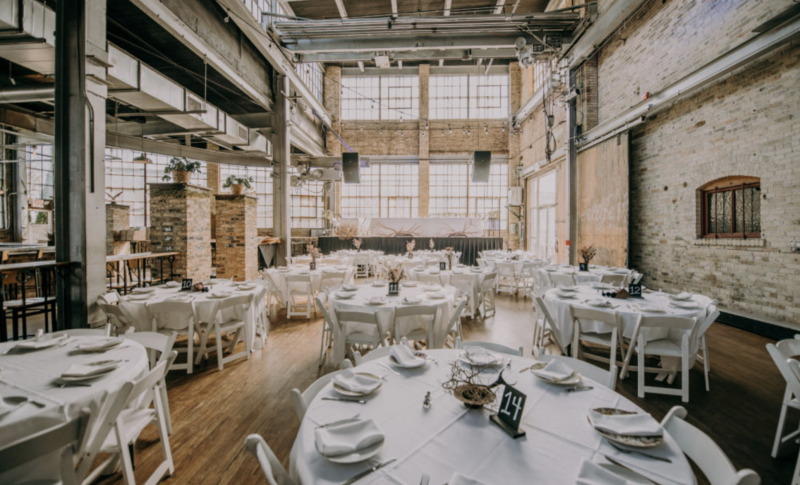 Wedding reception set up at the Cooperage in Milwaukee, WI