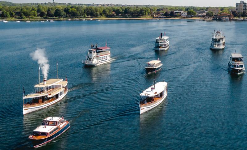 Lake Geneva Cruise Line fleet on the water