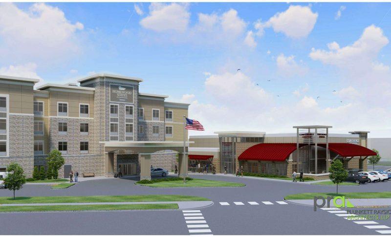 Rendering of exterior of the new Homewood Suites Oak Creek Milwaukee